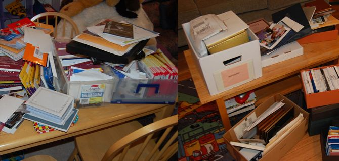 Before – Piles of photos clutter a family's recreation room.